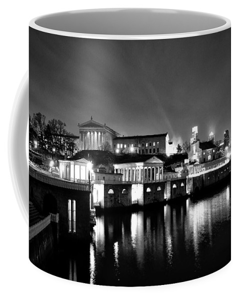Philadelphia Coffee Mug featuring the photograph The Philadelphia Waterworks In Black And White by Bill Cannon