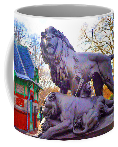 Philadelphia Coffee Mug featuring the photograph The Philadelphia Zoo Lion Statue by Bill Cannon
