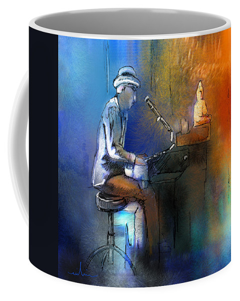 Pianist Coffee Mug featuring the painting The Pianist 01 by Miki De Goodaboom