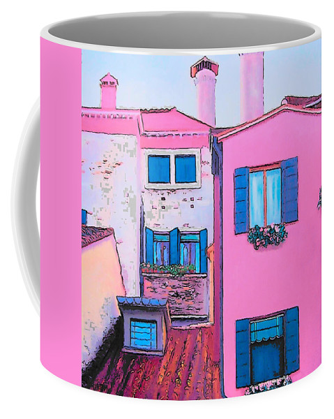 Pink House Coffee Mug featuring the painting The Pink House by Jan Matson