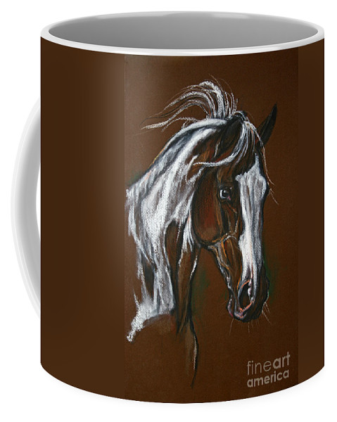 Horse Coffee Mug featuring the drawing The Pinto Horse by Angel Ciesniarska