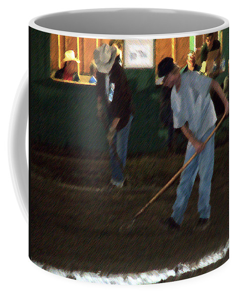 Men Coffee Mug featuring the painting The Pit Crew by RC deWinter