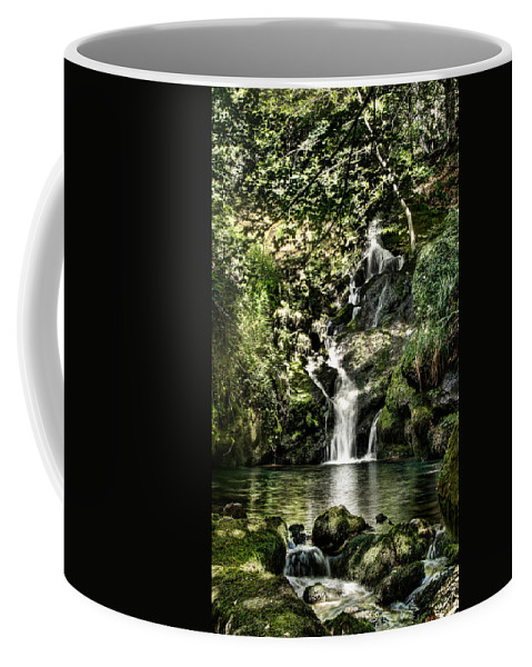 Forest Coffee Mug featuring the photograph The Pond And The Forest Waterfall by Weston Westmoreland