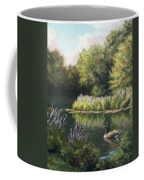 Nature Coffee Mug featuring the painting The Pond by Lucie Bilodeau