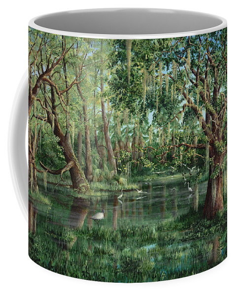 Nature Coffee Mug featuring the painting The Preacher And His Flock by AnnaJo Vahle