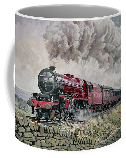 Train Coffee Mug featuring the painting The Princess Elizabeth Storms North In All Weathers by David Nolan