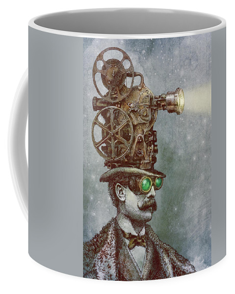 Projector Coffee Mug featuring the drawing The Projectionist by Eric Fan