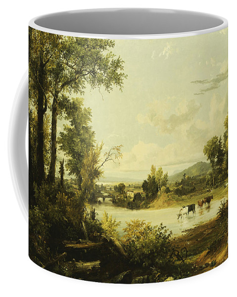 River Coffee Mug featuring the painting The Quiet Valley by Jasper Francis Cropsey