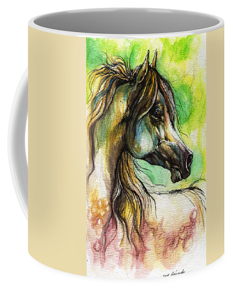 Horse Coffee Mug featuring the painting The Rainbow Colored Arabian Horse by Angel Tarantella