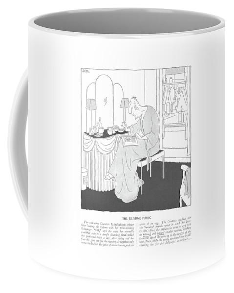 116783 Gwl Gluyas Williams The Reading Public  The Charming Countess Tchadhzichew Coffee Mug featuring the drawing The Reading Public  The Charming Countess by Gluyas Williams