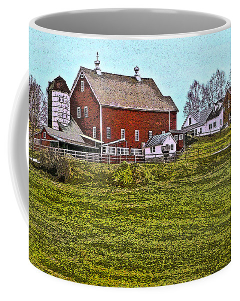 Landscape Coffee Mug featuring the digital art The Red Barn by Nancy Griswold