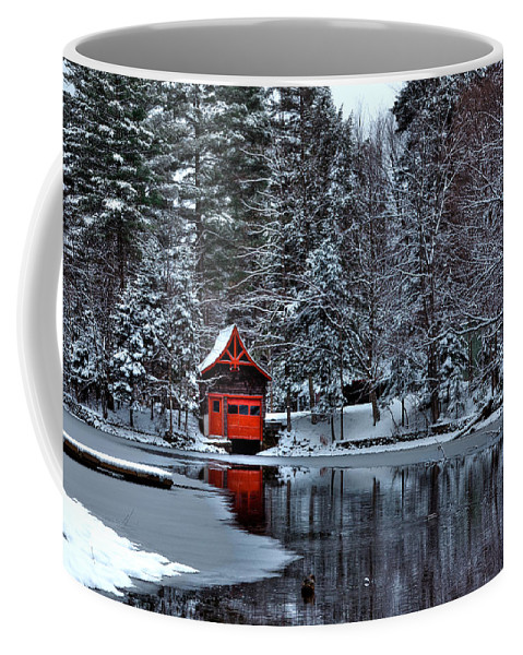 The Red Boathouse Old Forge Ny Coffee Mug featuring the photograph The Red Boathouse - Old Forge Ny by David Patterson