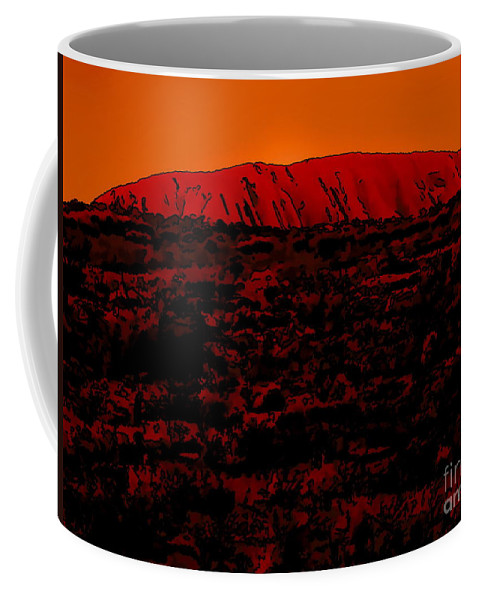 Digital Drawing Coffee Mug featuring the digital art The Red Center D by Tim Richards