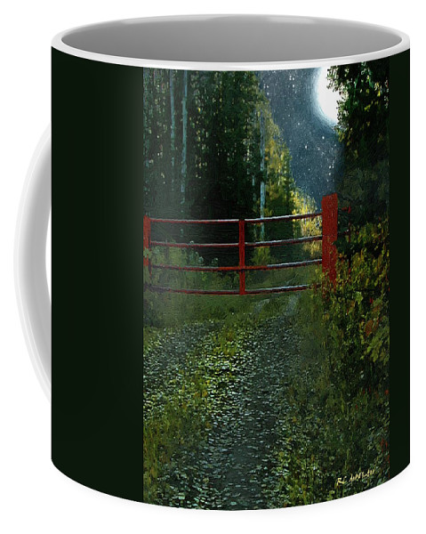 Landscape Coffee Mug featuring the painting The Red Gate by RC DeWinter