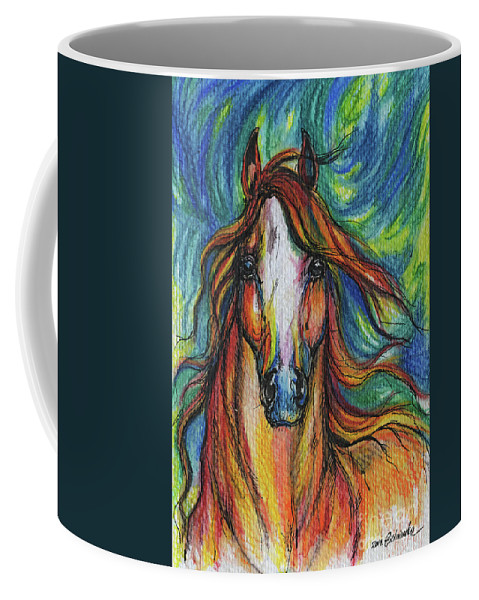 Psychodelic Coffee Mug featuring the painting The Red Horse by Angel Ciesniarska