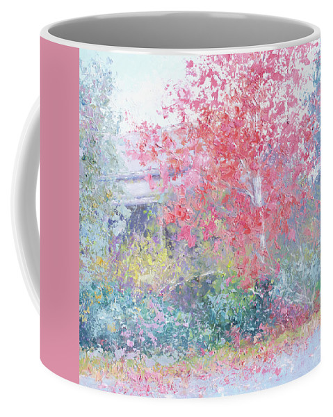 Maple Tree Coffee Mug featuring the painting The Red Japanese Maple Tree by Jan Matson