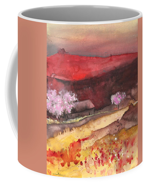 Travel Coffee Mug featuring the painting The Red Mountain by Miki De Goodaboom