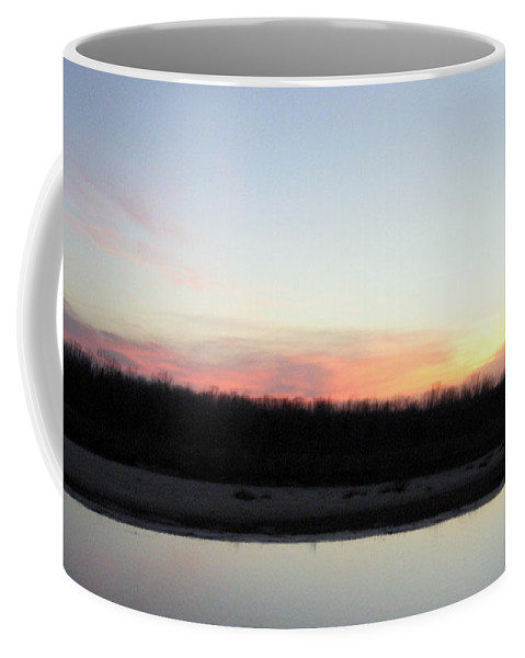 Red River Coffee Mug featuring the photograph The Red River's Setting Sun by Amy Hosp