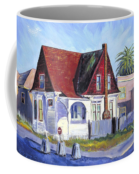Urban Landscape Painting Coffee Mug featuring the painting The Red Roof House by Asha Carolyn Young