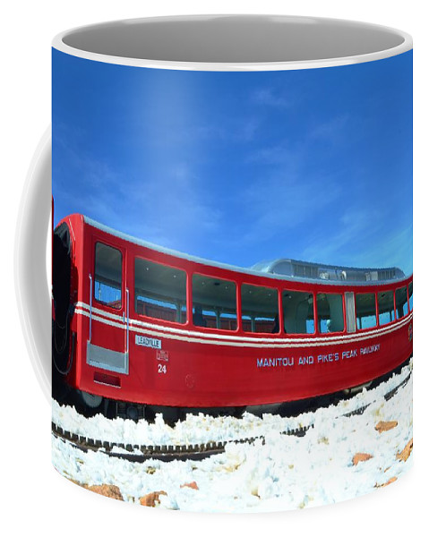 Red Coffee Mug featuring the photograph The Red Train by Kathleen Struckle