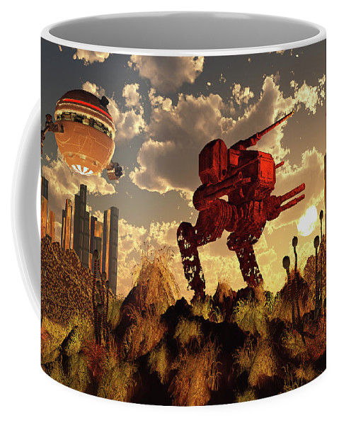 Horizontal Coffee Mug featuring the photograph The Remnants Of A Past Futuristic War by Mark Stevenson
