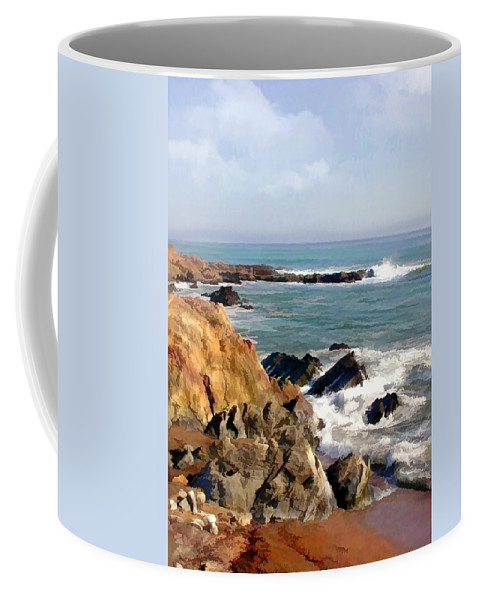 California Coffee Mug featuring the painting The Rocky Coastline Meets The Ocean by Elaine Plesser