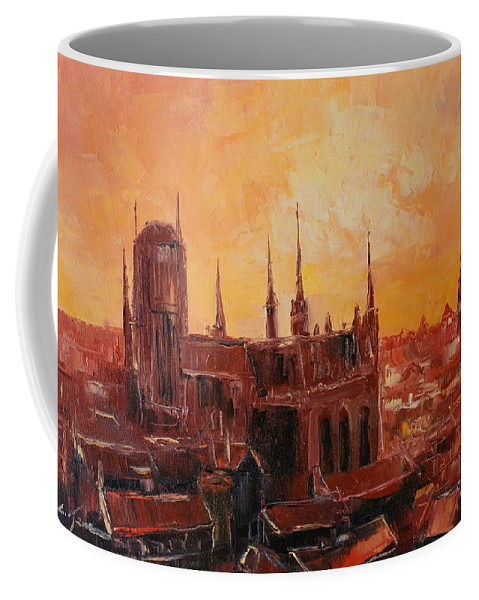 Gdansk Coffee Mug featuring the painting The Roofs Of Gdansk by Luke Karcz
