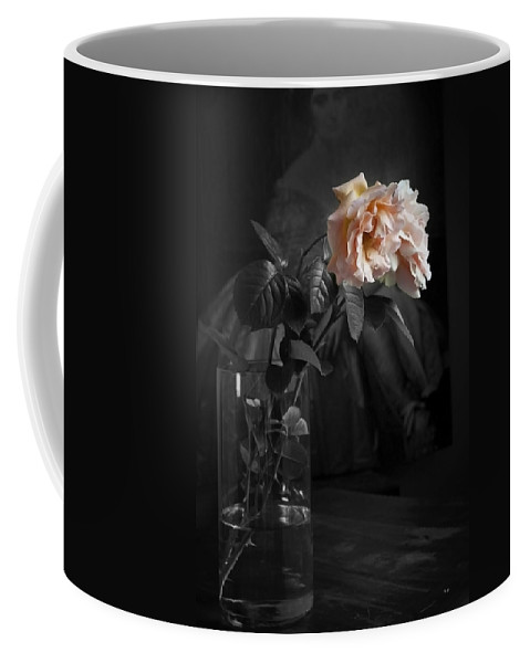 Abraham Darby Rose Coffee Mug featuring the photograph The Rose Grew Pale And Left Her Cheek by Theresa Tahara