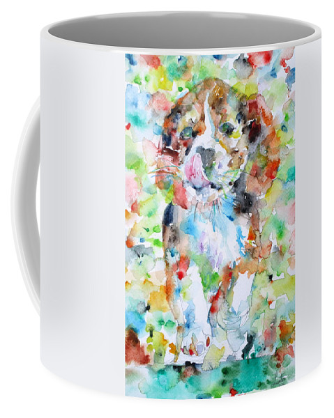 Dog Coffee Mug featuring the painting The Running Puppy by Fabrizio Cassetta
