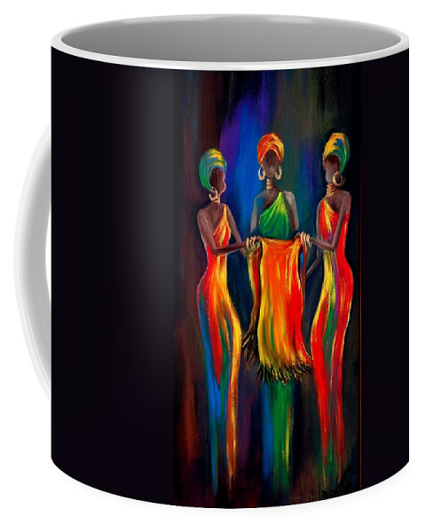 African Women Coffee Mug featuring the painting The Scarf by Marietjie Henning
