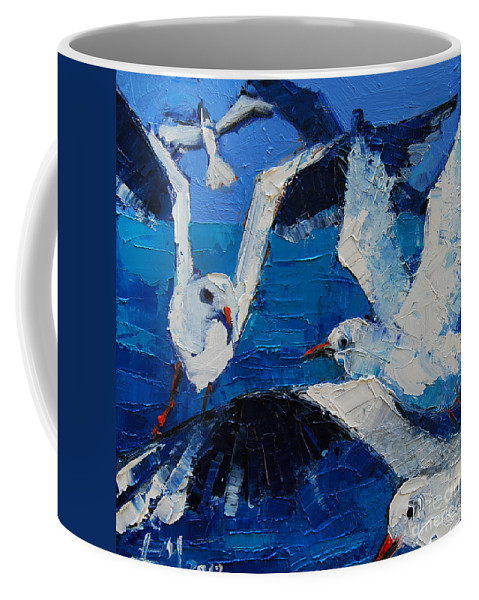The Seagulls Coffee Mug featuring the painting The Seagulls by Mona Edulesco