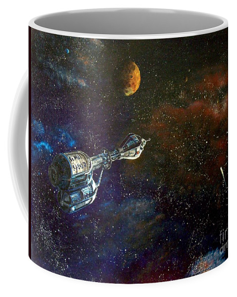 Vista Horizon Coffee Mug featuring the painting The Search for Earth by Murphy Elliott