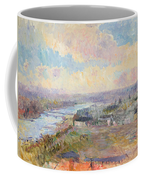River Coffee Mug featuring the painting The Seine At Rouen by Albert Charles Lebourg