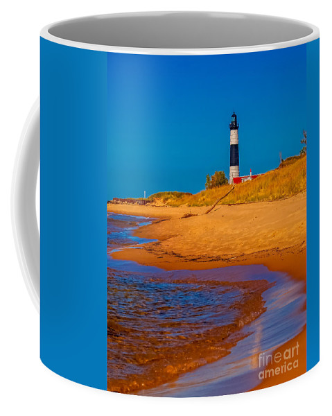 Beach Coffee Mug featuring the photograph The Shore To Big Sable by Nick Zelinsky