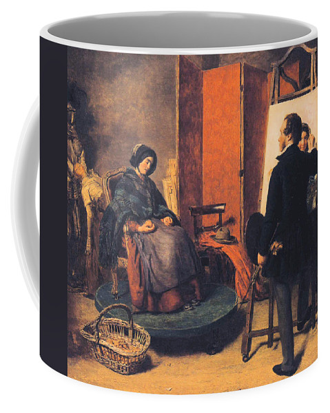 William Powell Frith Coffee Mug featuring the digital art The Sleeping Model by William Powell Frith