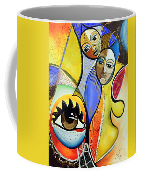 Faces Coffee Mug featuring the painting The Soulmate by Eladia Alvarado Mauriz
