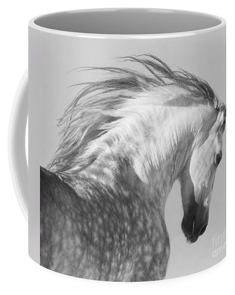 Horse Coffee Mug featuring the photograph The Spanish Stallion Tosses His Head by Carol Walker