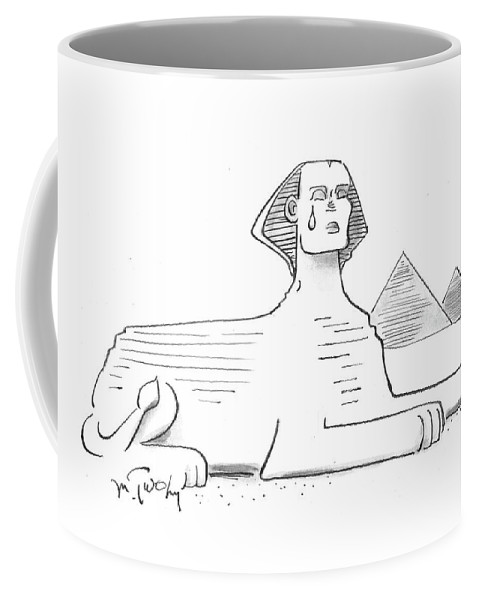 Cartoon Coffee Mug featuring the drawing The Sphinx Crying by Mike Twohy