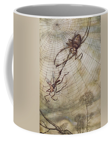The Spider And The Fly Coffee Mug featuring the painting The Spider And The Fly by Arthur Rackham