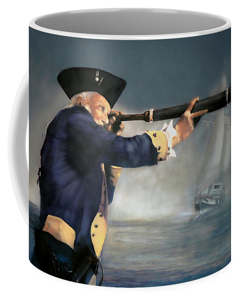 Pirate Coffee Mug featuring the painting The Spyglass by Donna Lee Nyzio