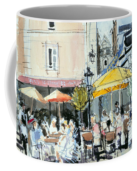 Cafe; Restaurant; French; Open Air; Dining; Eating; Al Fresco; Courtyard; Tables; Umbrellas; Brittany; Shade; Parasols; Terrace Coffee Mug featuring the painting The Square At St. Malo by Felicity House