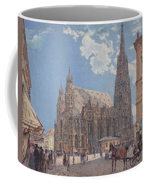 Classic Art With A Change. Coffee Mug featuring the digital art The St Stephen's Cathedral In Vienna by Rudolf von Alt