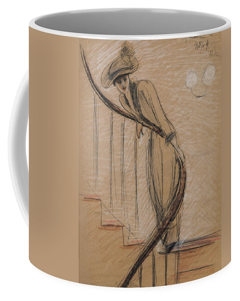 Woman Coffee Mug featuring the drawing The Staircase by Paul Cesar Helleu