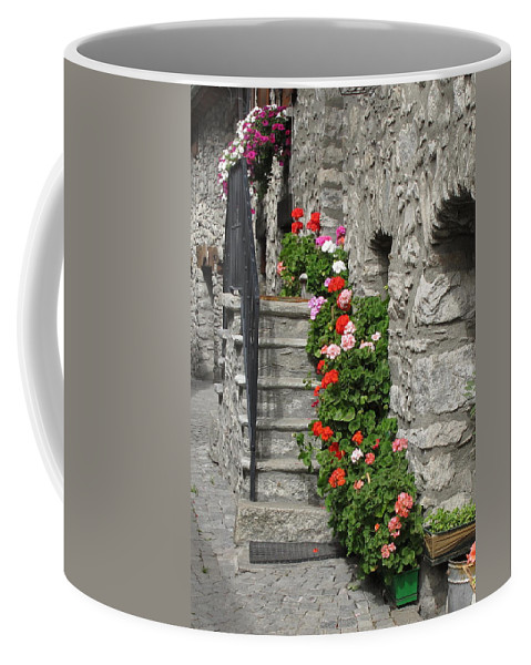 Geraniums Coffee Mug featuring the photograph The Staircase by Mary Ellen Mueller Legault