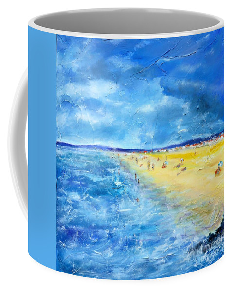 Painting Coffee Mug featuring the painting The Storm Arrives At The Beach by Cristina Stefan