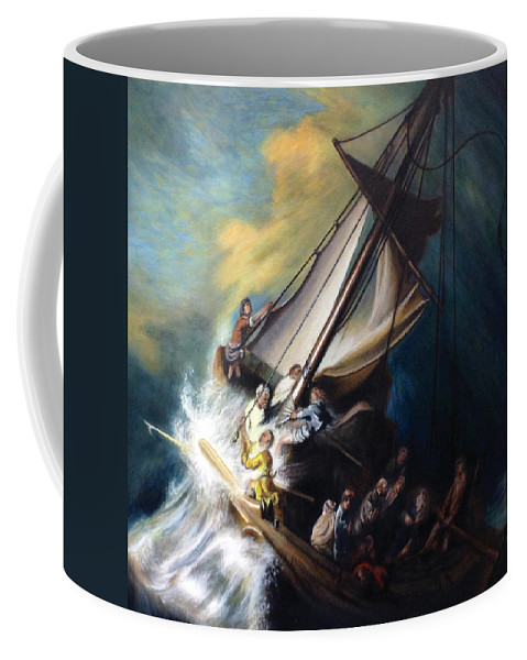 Seascape Coffee Mug featuring the painting The Storm On The Sea Of Galilee by Mike Chhay