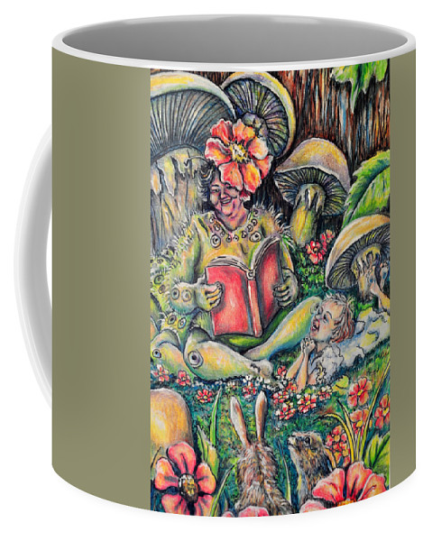 Caterpillar Coffee Mug featuring the drawing The Story Lady by Gail Butler