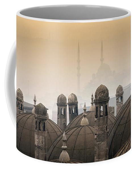 The Suleymaniye Mosque Coffee Mug featuring the photograph The Suleymaniye Mosque And New Mosque In The Backround by Ayhan Altun