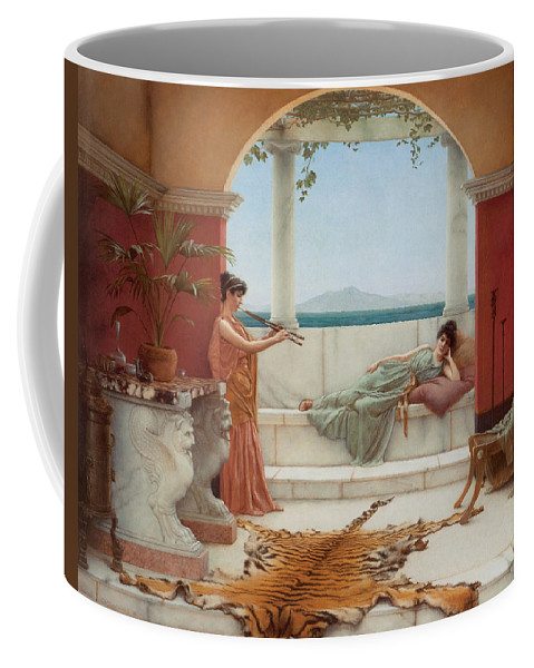 John William Godward Coffee Mug featuring the digital art The Sweet Siesta Of A Summer Day by John William Godward