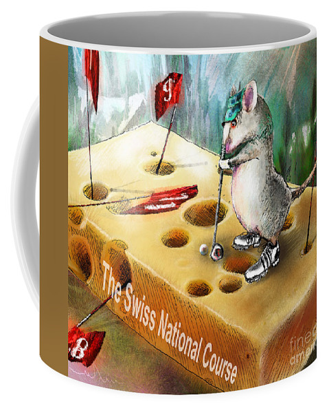 Golf Humour Coffee Mug featuring the painting The Swiss National Course by Miki De Goodaboom